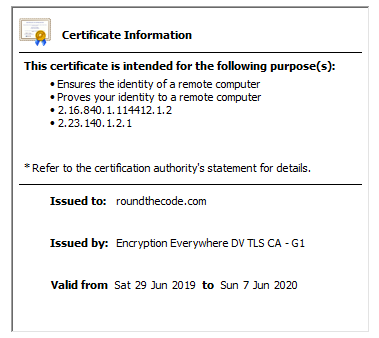 SSL certificate information for Round The Code