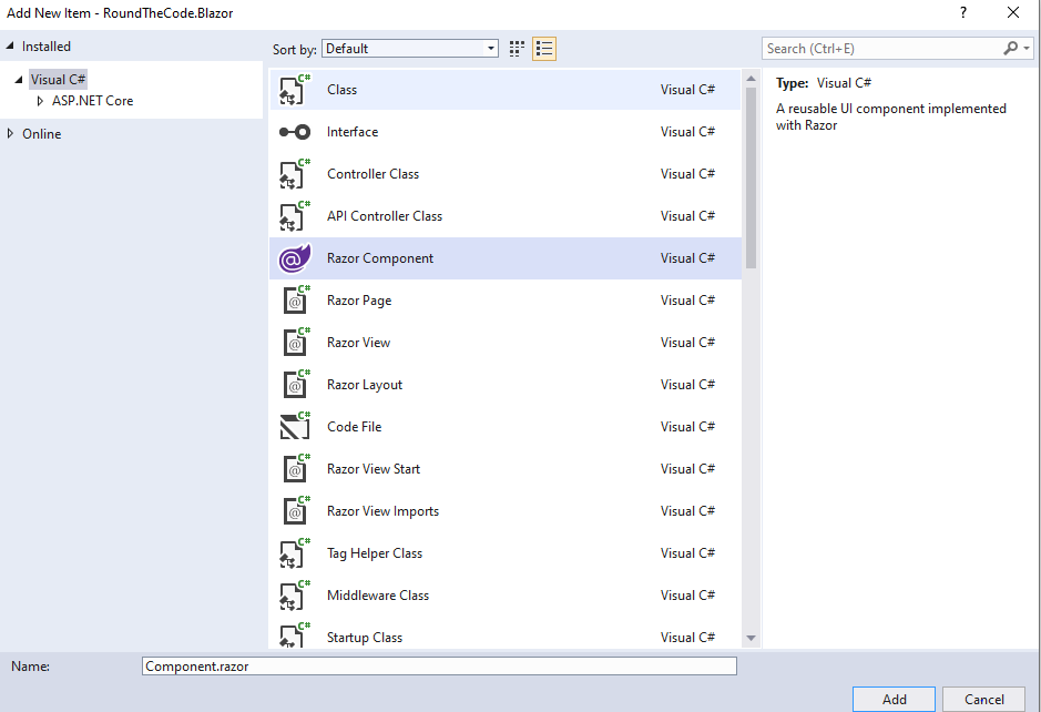 Add a Razor Component Item to your Project in Visual Studio 2019