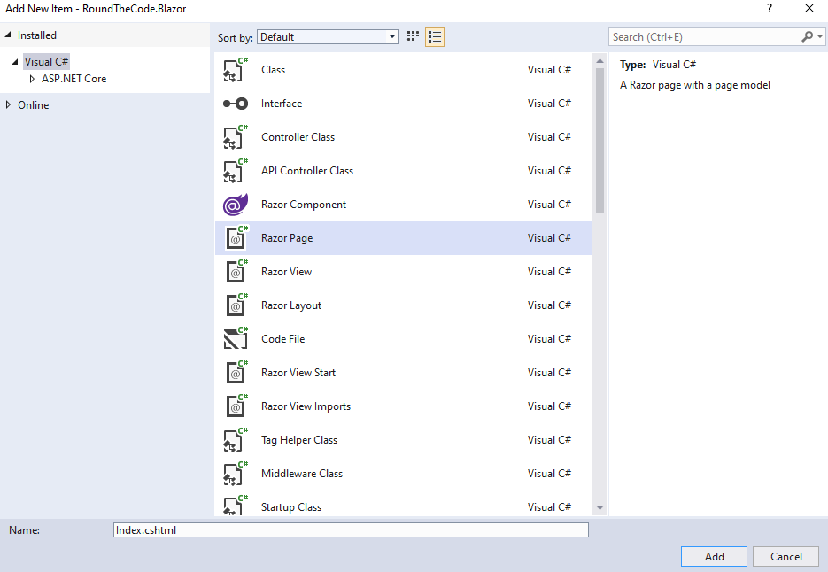 Create a Razor Page Item in your project in Visual Studio 2019