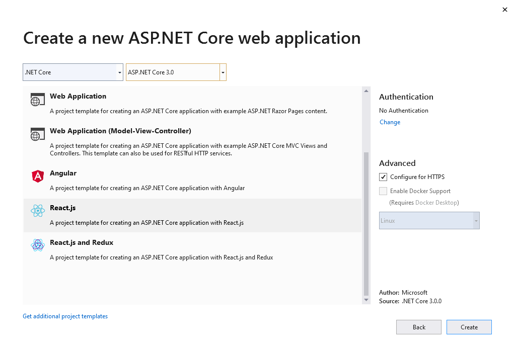 Create a new ASP.NET Core web application with a React.js project template