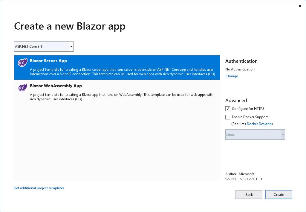 Create a new Blazor app. Select Blazor Server App or Blazor WebAssembly App.