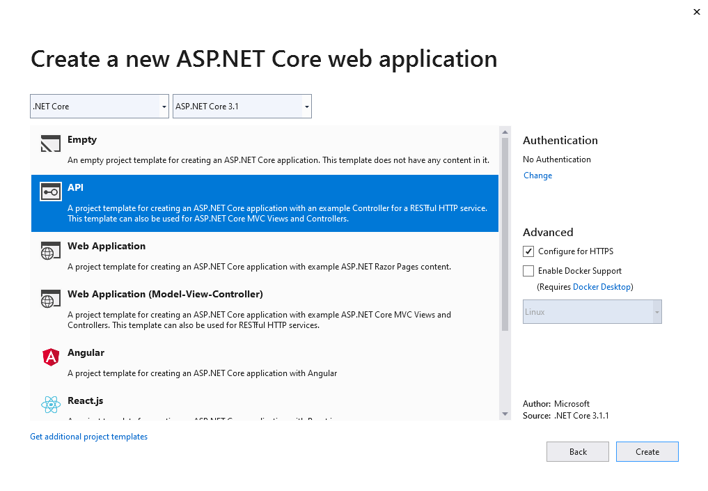 Create a ASP.NET Core API application in Visual Studio