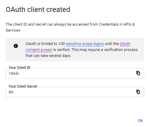 Client ID and Client Secret for OAuth in Google Cloud Platform