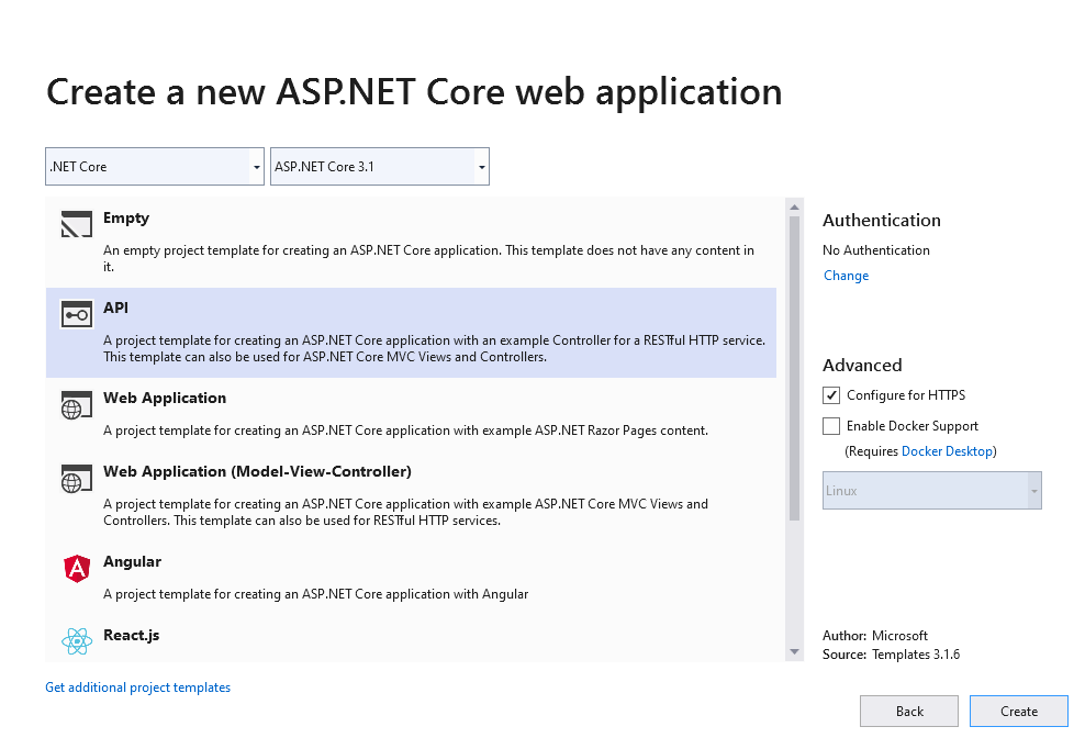 Create an ASP.NET Core API in Visual Studio 2019