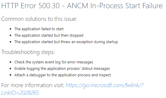 500.30 Error when Running an ASP.NET Core Application in IIS