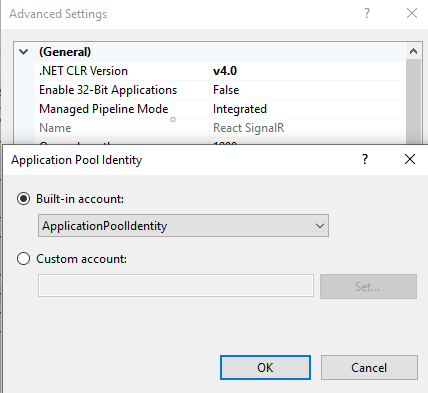 Check the Application Pool Identity in IIS when running an ASP.NET Core Application