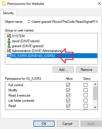 Give IIS_IUSRS Full Control to your ASP.NET Core Application in IIS