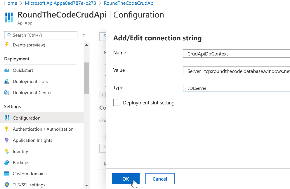 Add a Connection String to an API App in Azure