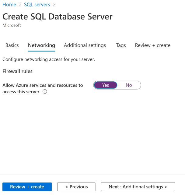Allow Azure Services to access your SQL Server database