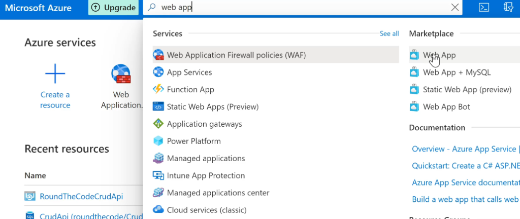 Create a New Web App in Azure