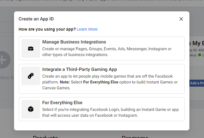 Create an app in Facebook Developers