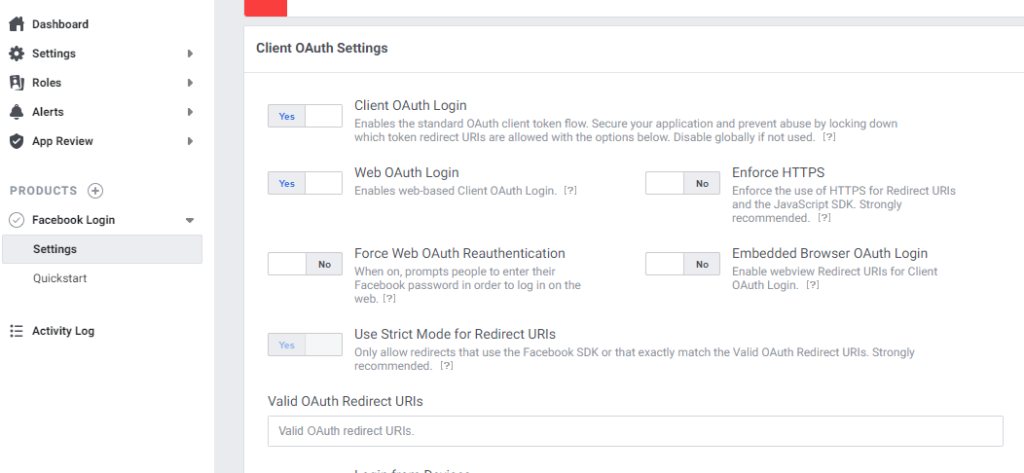Facebook Login Settings with Facebook App