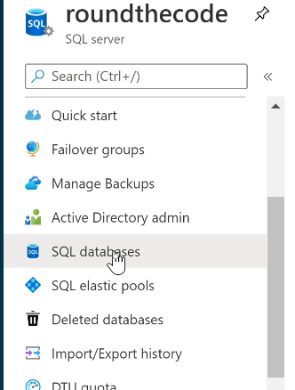 Located to SQL databases in SQL Server in Azure