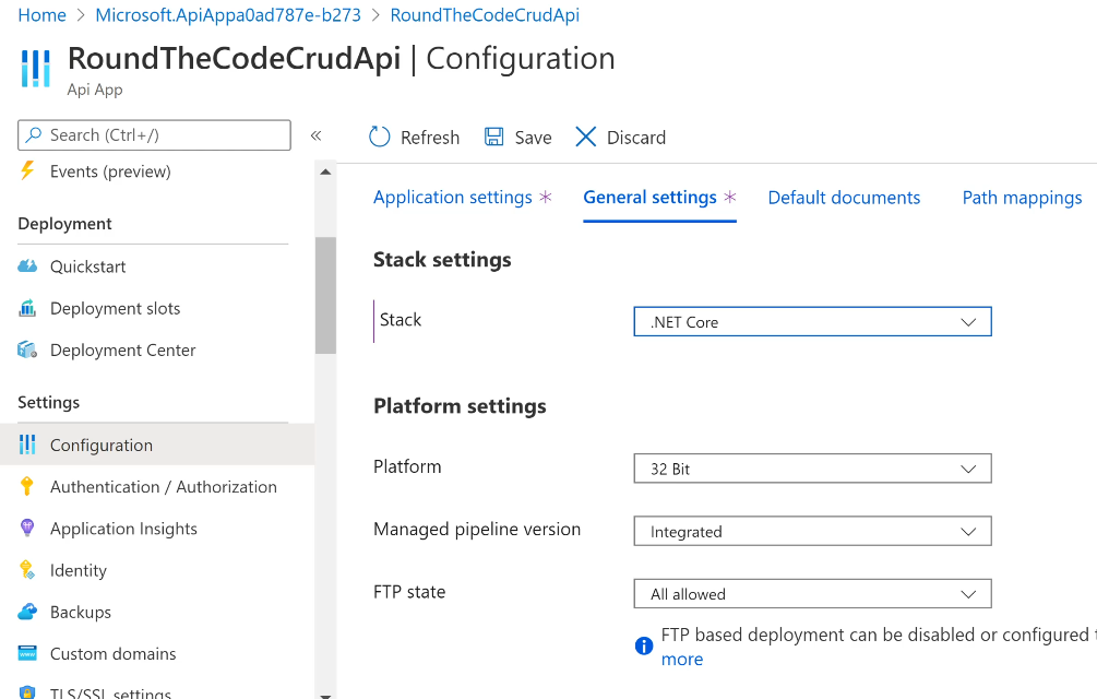 Select the Stack as .NET Core in Api App