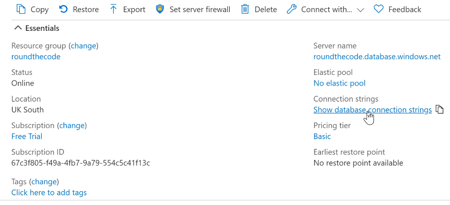 Show Database Connection Strings for SQL Server Database in Azure