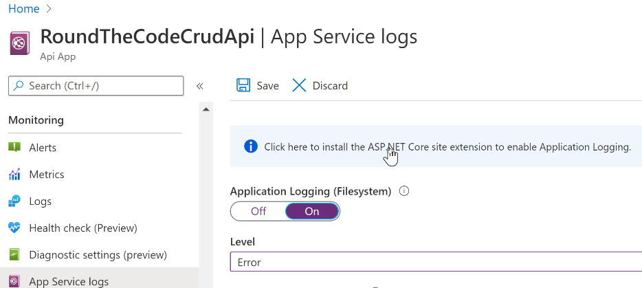 Turn on Application Logging in an API App in Azure