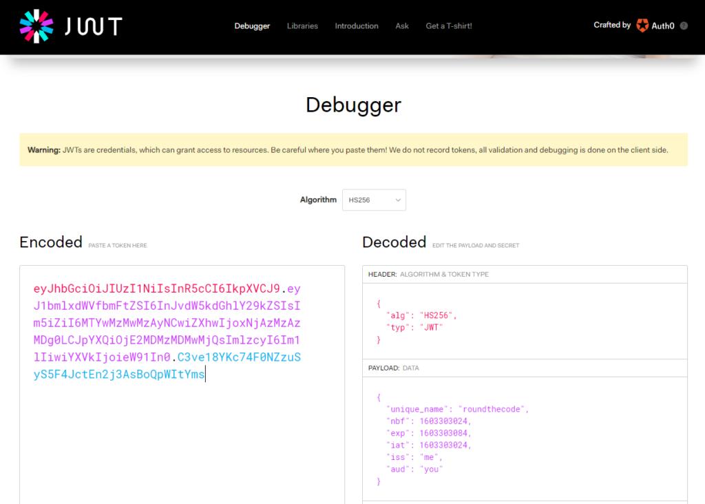 Decrypt a Bearer Token on JWT.io