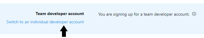Switch to an Individual Account when Signing up for Twitter Developer Tools