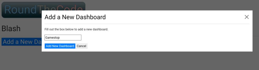 Add a New Dashboard on Blash