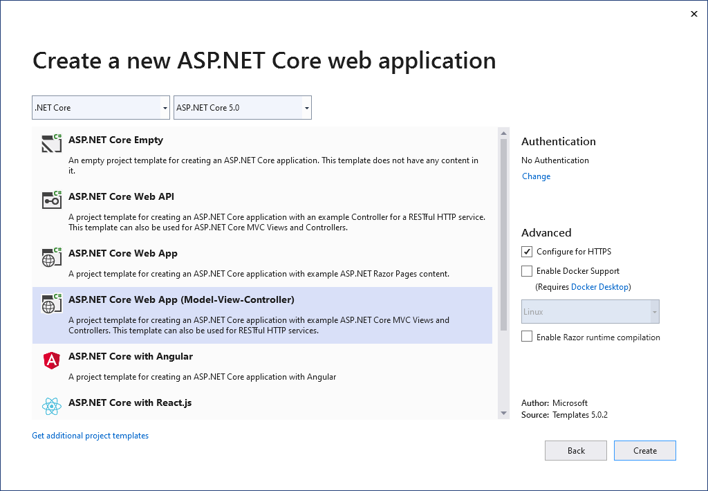 Choosing an ASP.NET Core Project Template in Visual Studio 2019