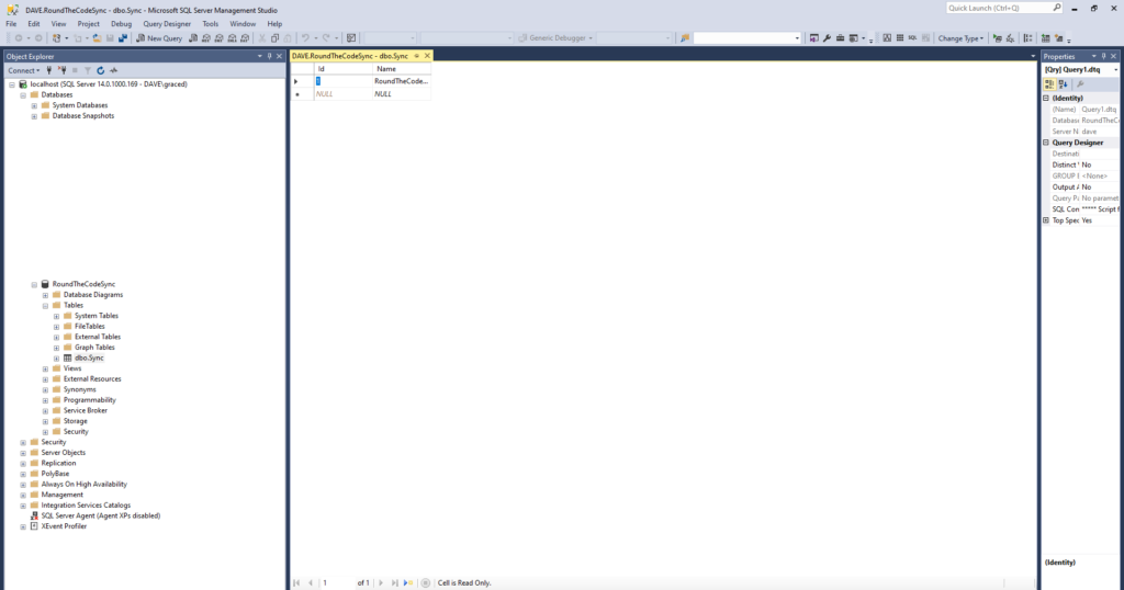 Viewing a Table in SQL Server Management Studio