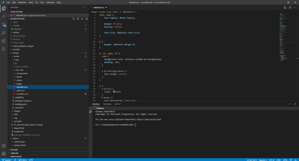 Writing SASS for CSS styling in Visual Studio Code