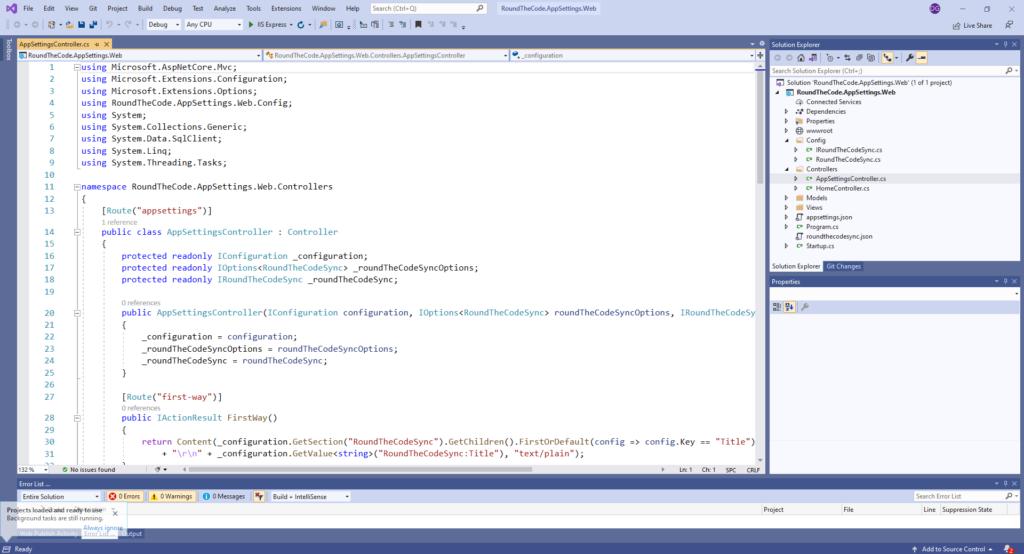 Writing an ASP.NET Core web application in Visual Studio 2019