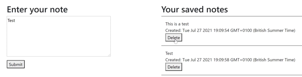 Deleting a note in a React TypeScript Notes app